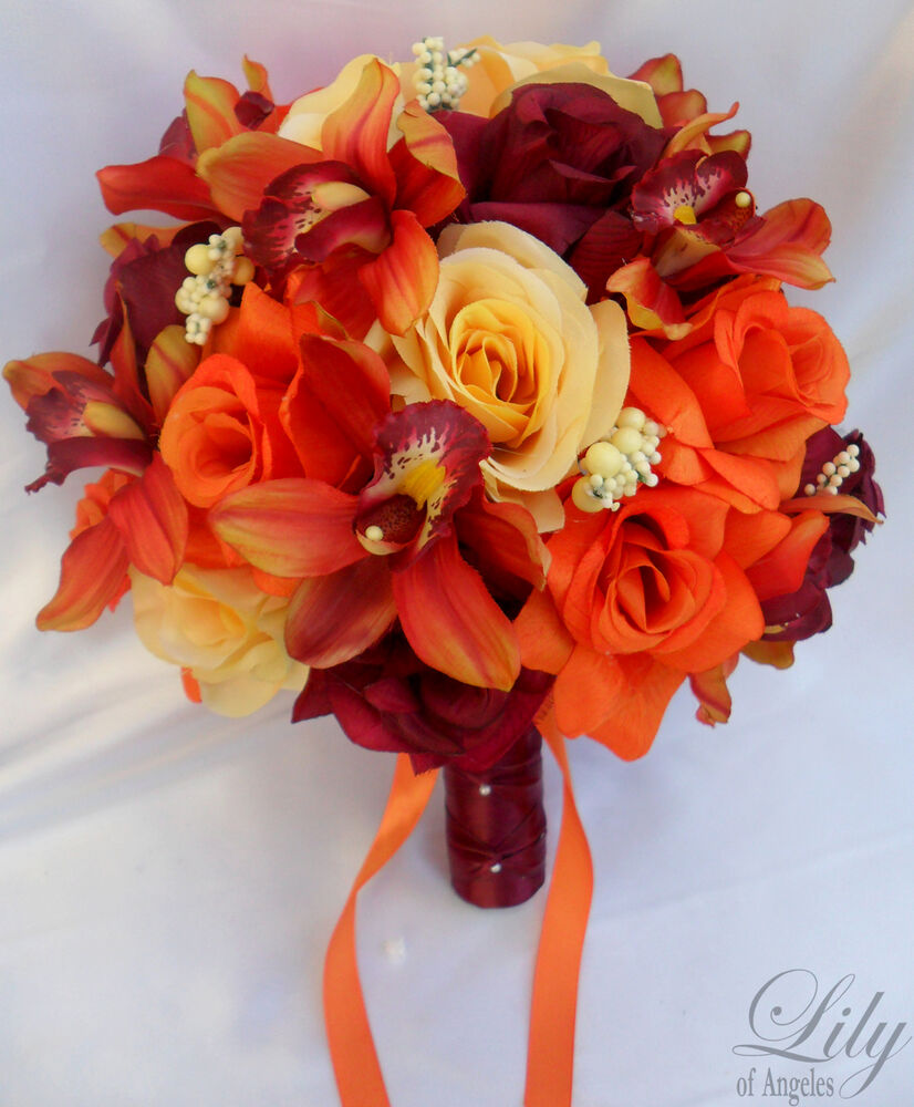 17 pieces wedding bridal bouquet decoration silk flower yellow orange burgundy ebay. Black Bedroom Furniture Sets. Home Design Ideas