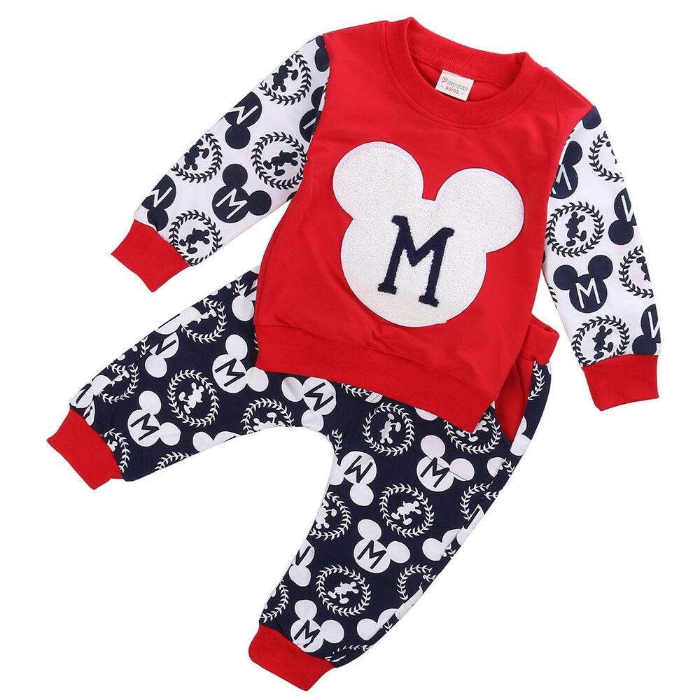Cotton Baby Boy Girls Mickey Mouse T Shirt Tops Pants 2pcs