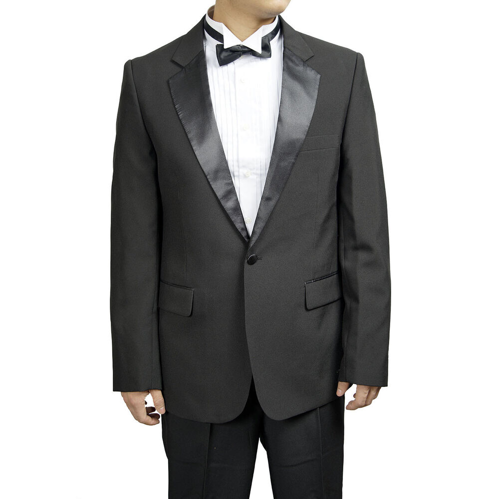 Mens 1 Button Classic Notch Collar Tuxedo With Shirt Bow