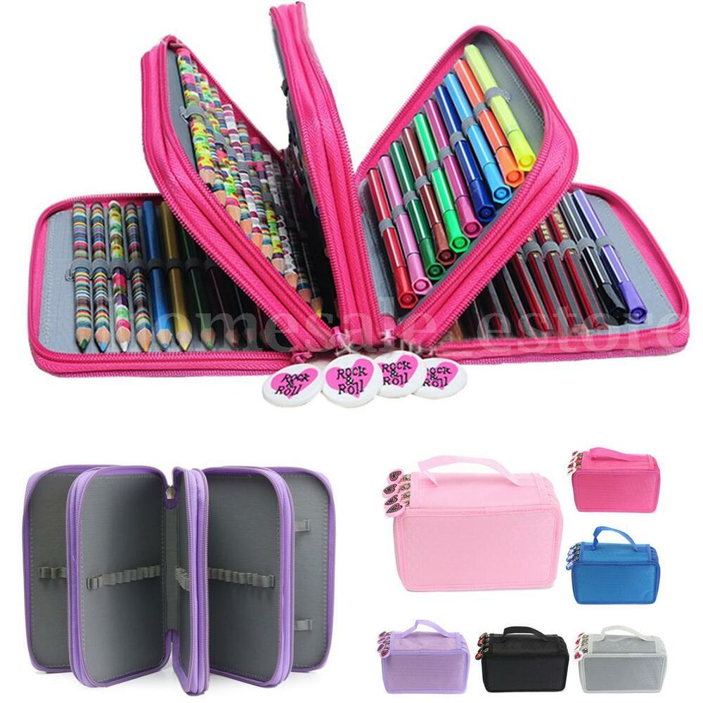4 Layers High Capacity Box Stationary Pen Pouch Bag Makeup