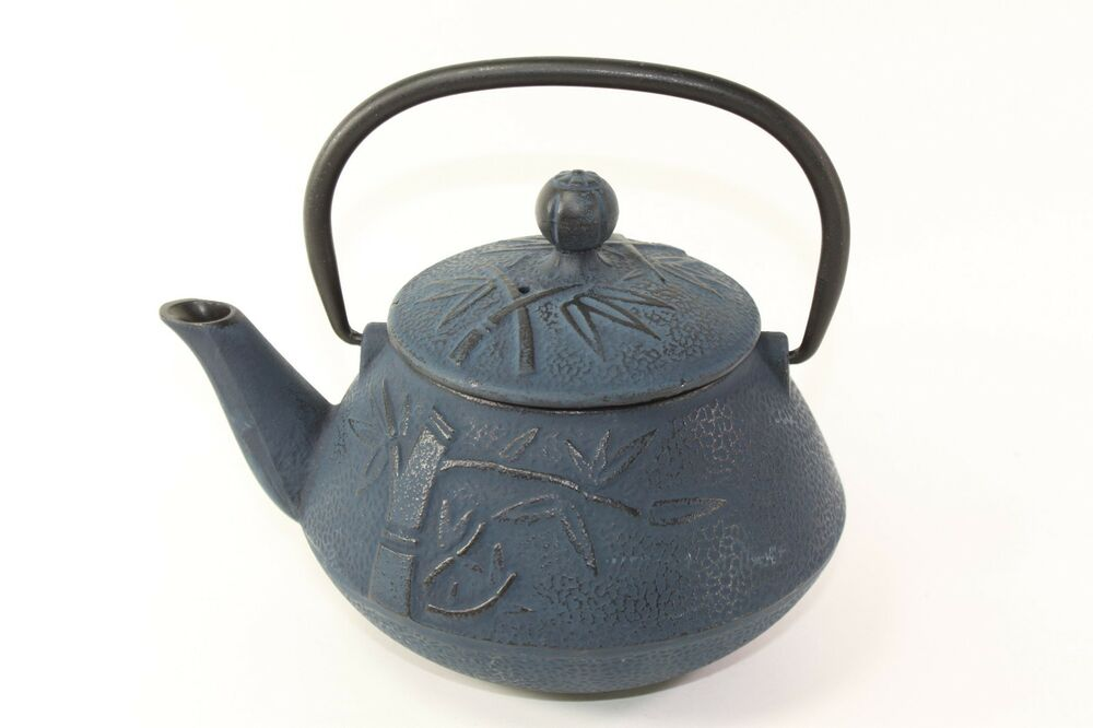 24 fl oz blue bamboo japanese cast iron teapot tetsubin with infuser filter ebay - Japanese teapot with strainer ...