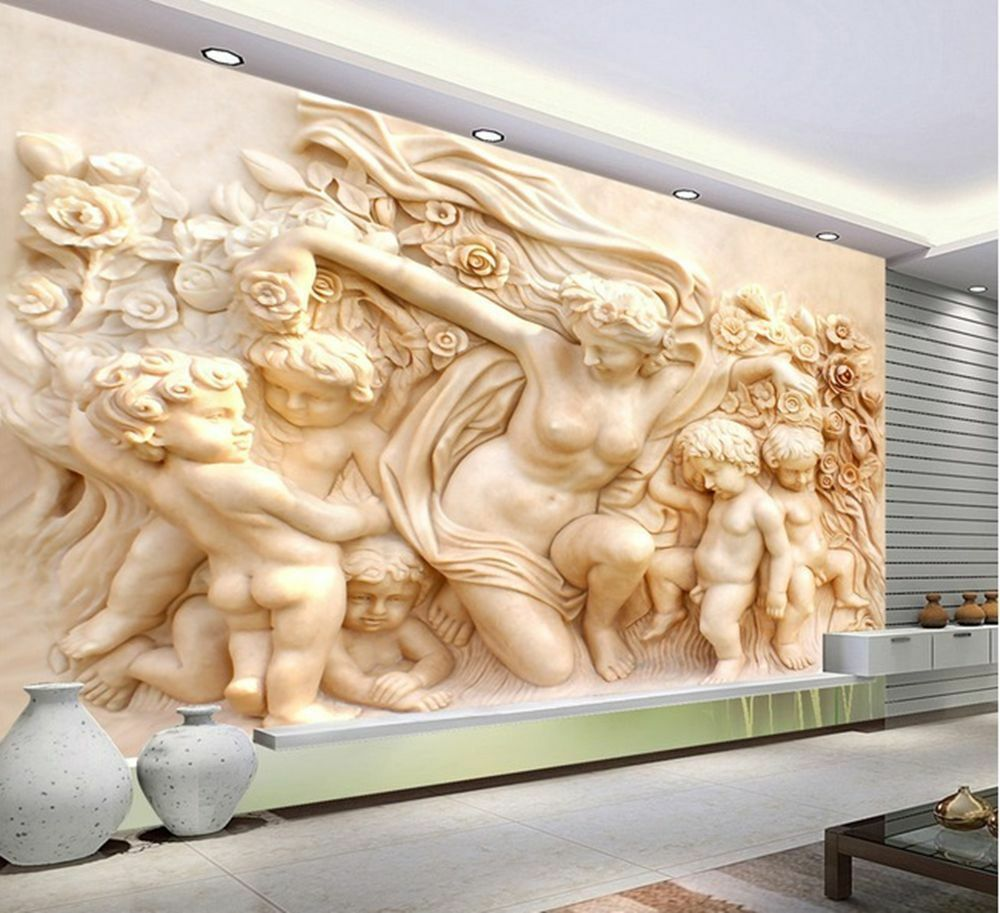 3d wallpaper bedroom mural roll modern luxury cherub for Luxury 3d wallpaper