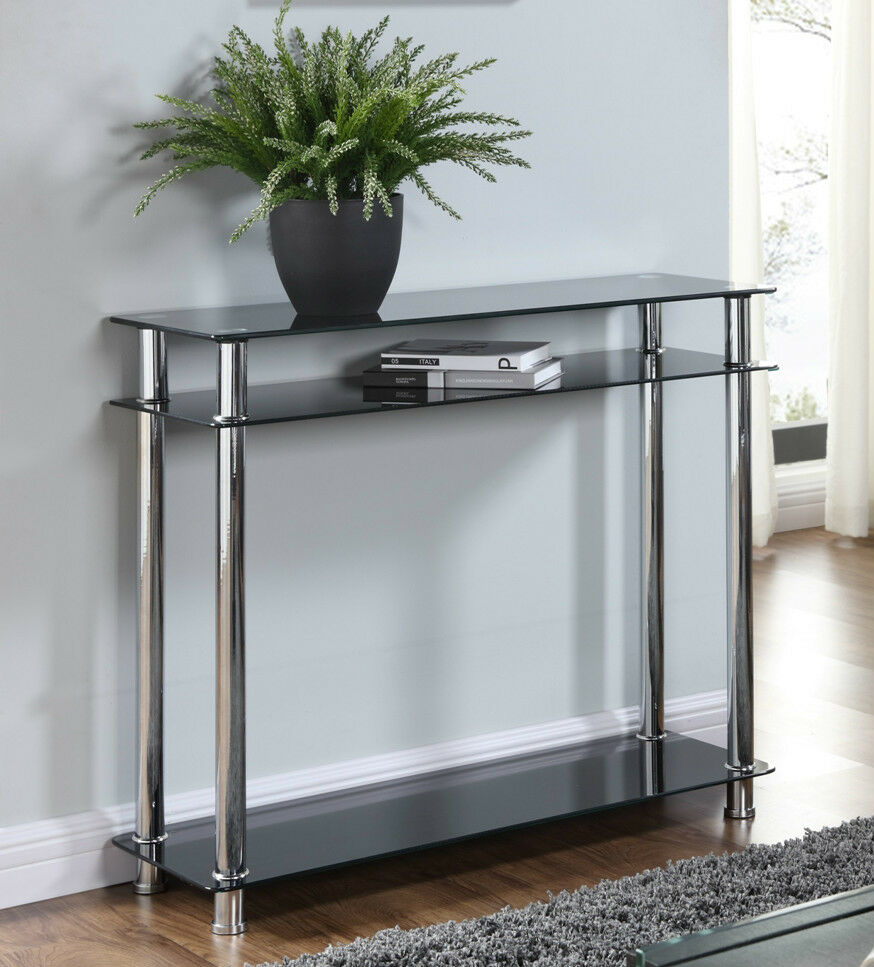 Black Or Clear Glass Chrome Console Table Large Hall Table Modern Furniture New Ebay