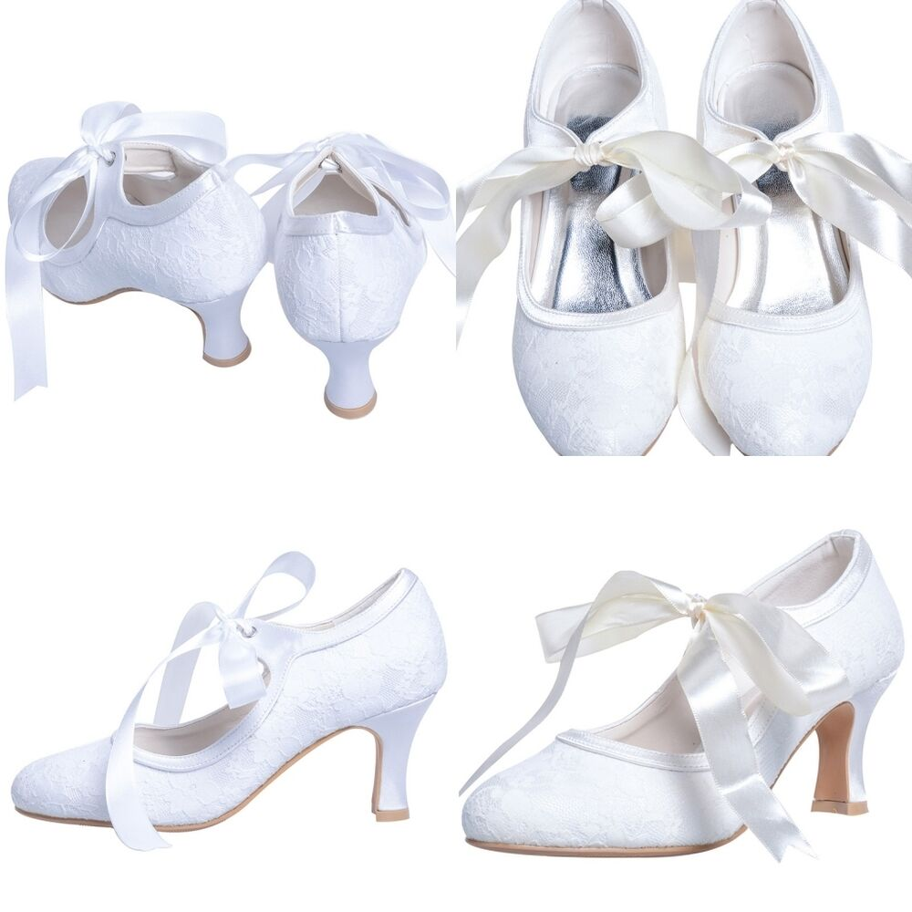 White Ivory Lace Satin Vintage Bridal Shoes Lady Wedding