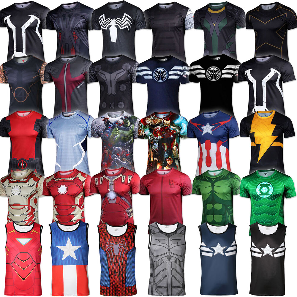 mens marvel superhero t shirt compression shirt tank base. Black Bedroom Furniture Sets. Home Design Ideas