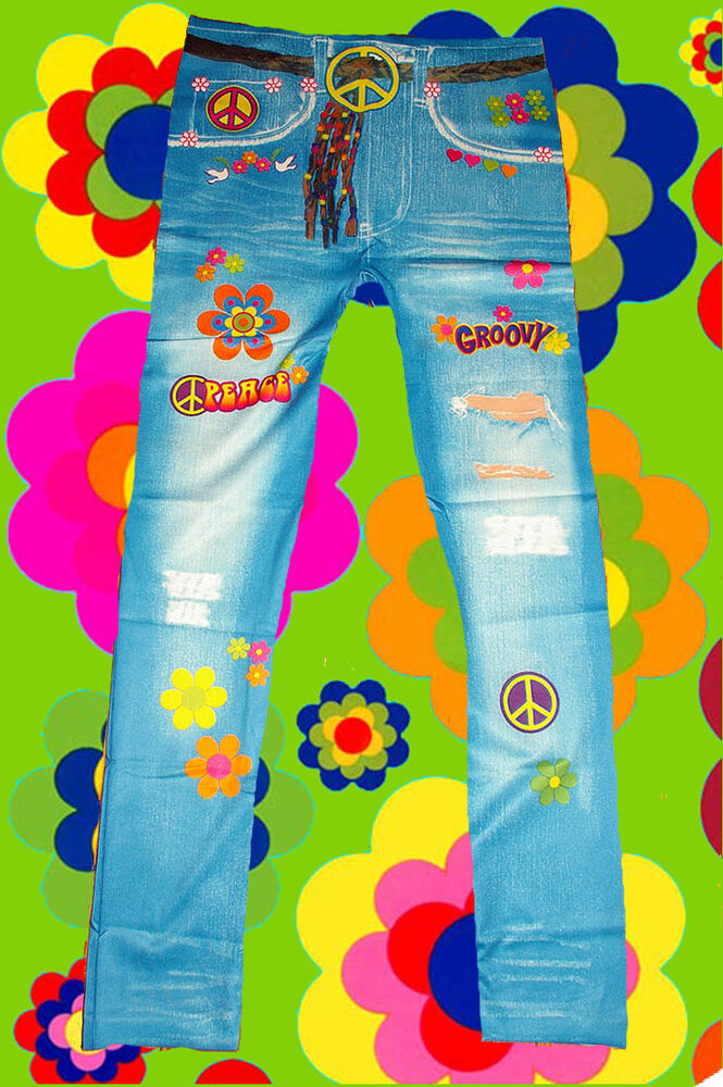 15 bunte 70er jahre hippie blumenkinder peace hose leggings prilblumen onesize ebay. Black Bedroom Furniture Sets. Home Design Ideas