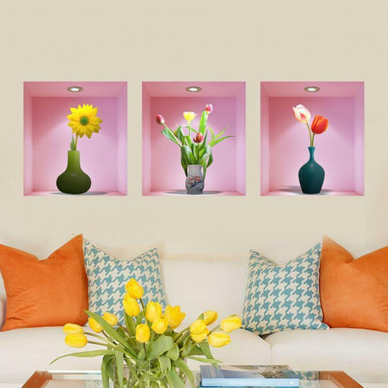 3d flower vase wall sticker home decal living room mural for Decor mural 3d