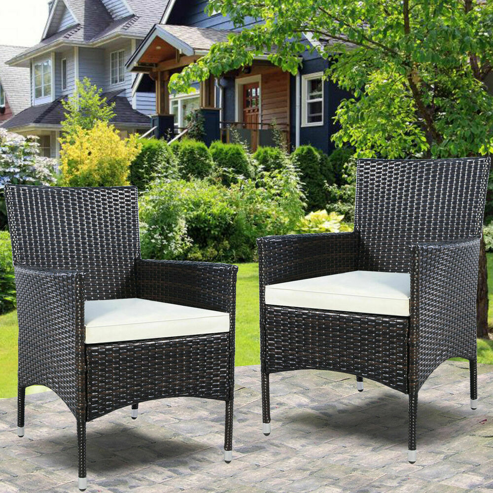 GOPLUS 2PC Chairs Outdoor Patio Rattan Wicker Dining Arm ...