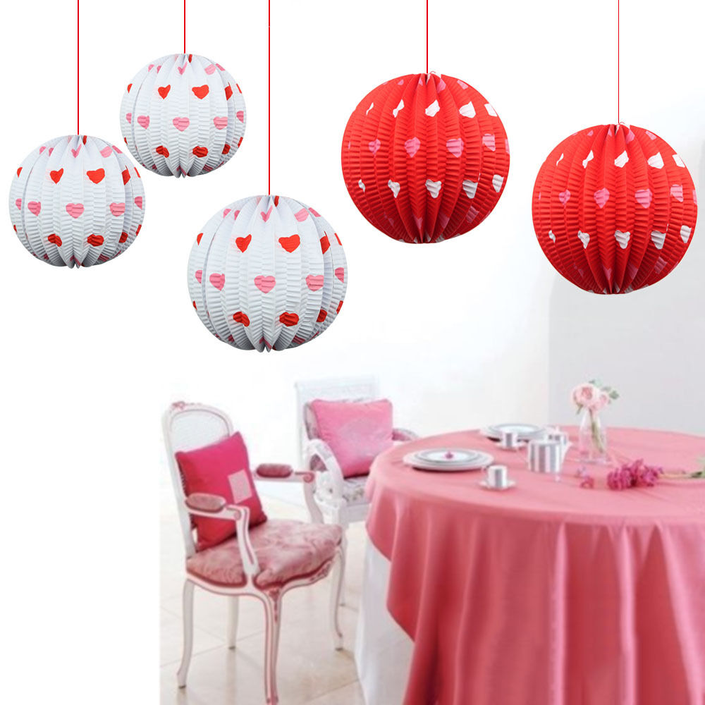 20x monther 39 s day hanging paper lantern red white mini - White hanging paper lanterns ...