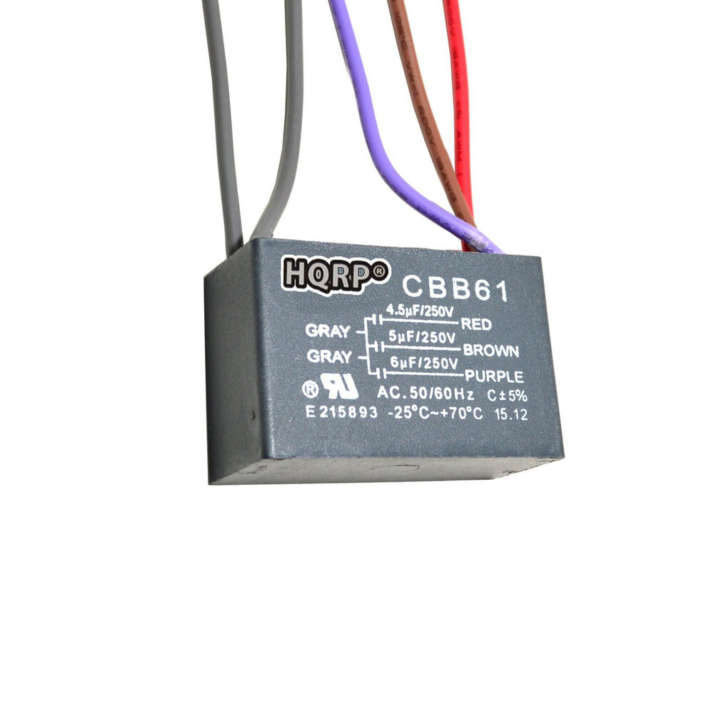 Hqrp Capacitor For Hampton Bay Ceiling Fan 4 5uf 5uf 6uf 5