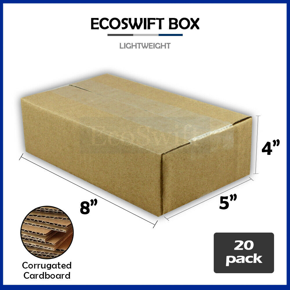 20 8x5x4 cardboard packing mailing moving shipping boxes. Black Bedroom Furniture Sets. Home Design Ideas
