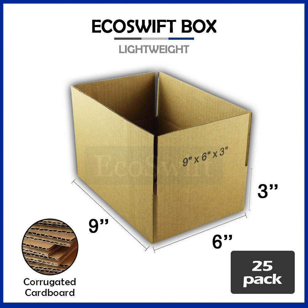 25 9x6x3 cardboard packing mailing moving shipping boxes. Black Bedroom Furniture Sets. Home Design Ideas