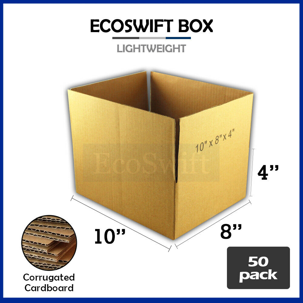 50 10x8x4 cardboard packing mailing moving shipping boxes. Black Bedroom Furniture Sets. Home Design Ideas