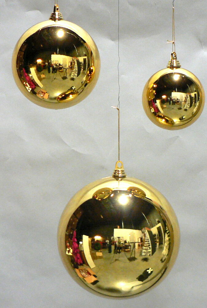 4 large shiny 11 gold christmas balls plastic 280mm for Large outdoor ornaments