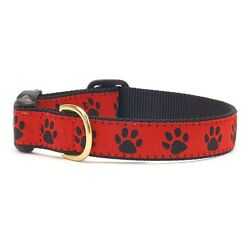 Up Country, Dog Puppy Design Collar, Made In USA, Red Black Paw, XS S M L XL XXL