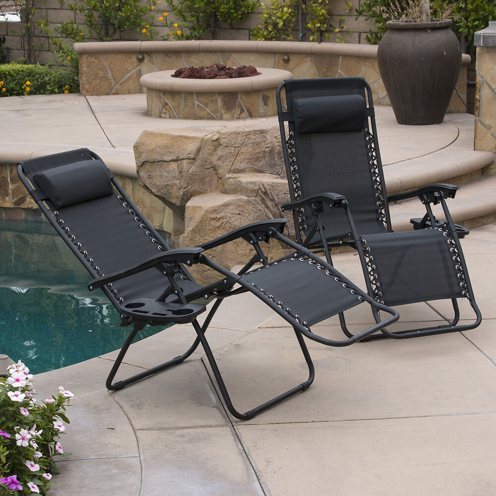 2PC Zero Gravity Chairs Lounge Patio Folding Recliner Outdoor Black W/Cup  Holder | eBay - 2PC Zero Gravity Chairs Lounge Patio Folding Recliner Outdoor Black