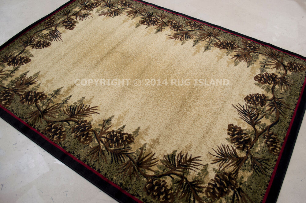 8x10 7 10 Quot X 9 10 Quot Lodge Cabin Pinecone Green Area Rug