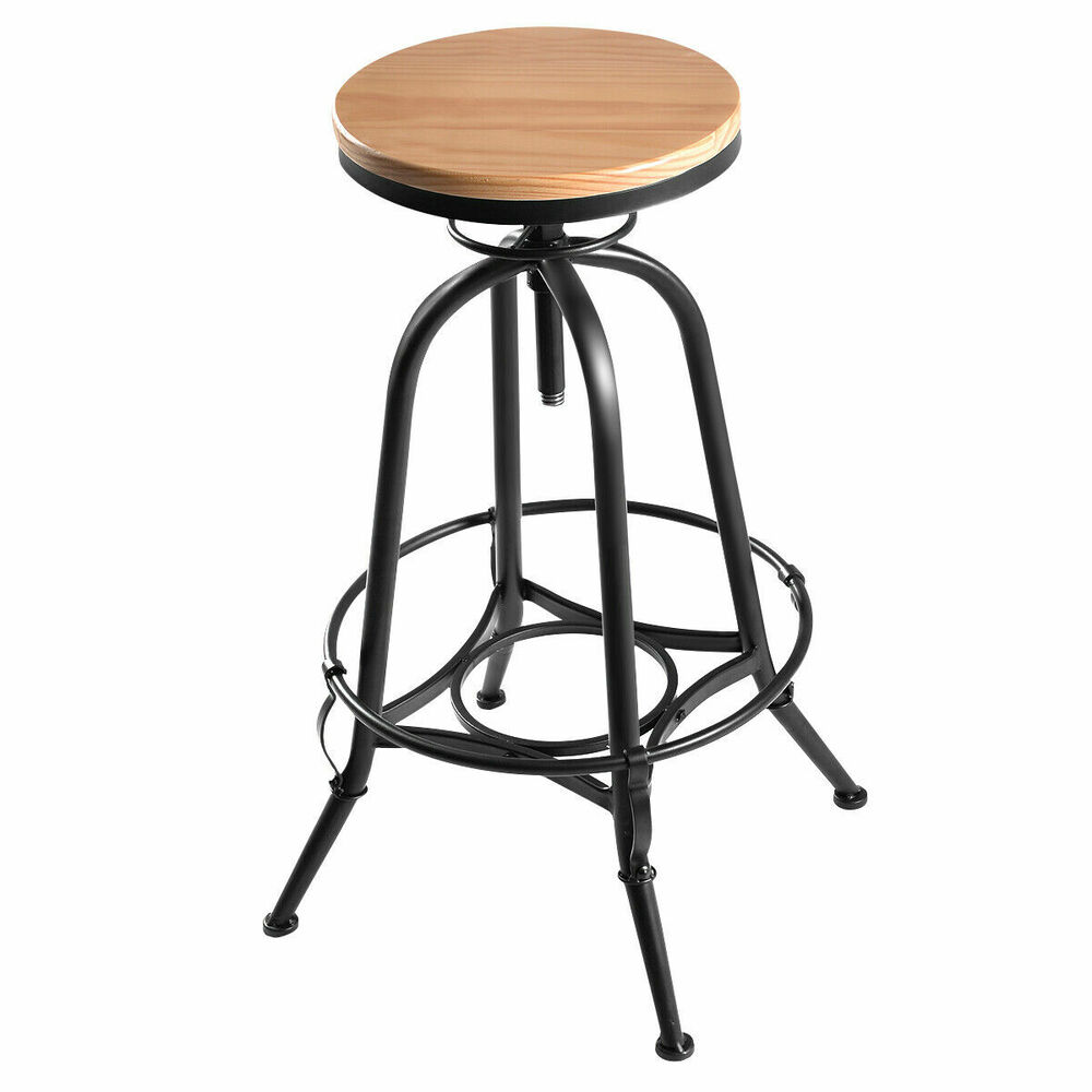 New Vintage Bar Stool Industrial Metal Design Wood Top