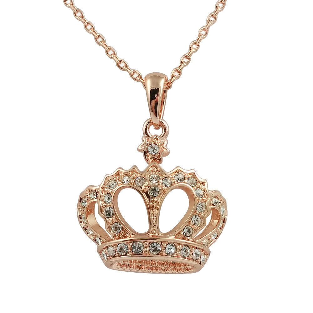 Fashion Jewelry - 18k Rose Gold Plated Crown Necklace
