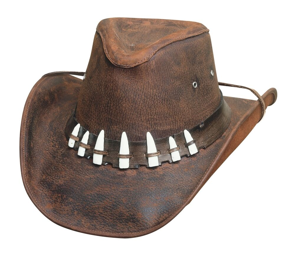 Crocodile Dundee Bullhide Leather Brown Hat With 7