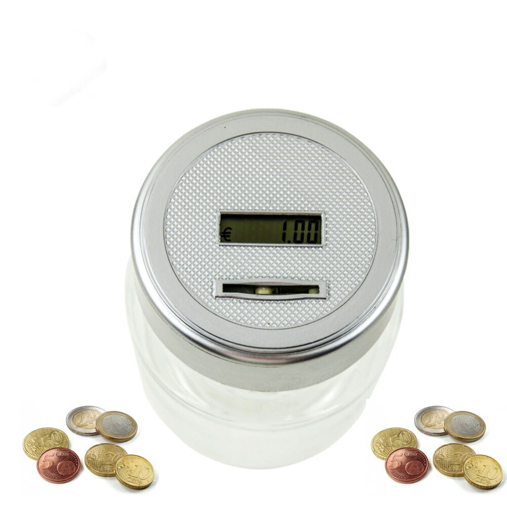 Euro coin cent counting money jar piggy bank saving safe box digital display ebay - Coin bank that counts money ...