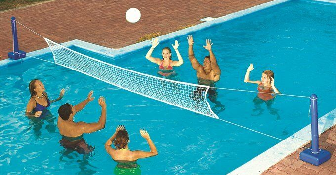 Swimline 9186 cross inground swimming pool fun volleyball for Pool design game