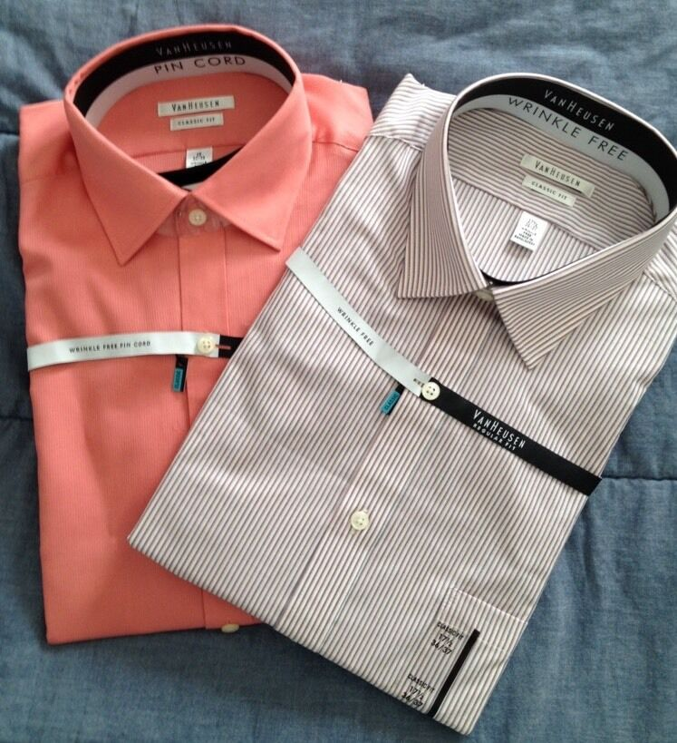 Nwt mens van heusen dress shirt classic fit wrinkle free for How do wrinkle free shirts work