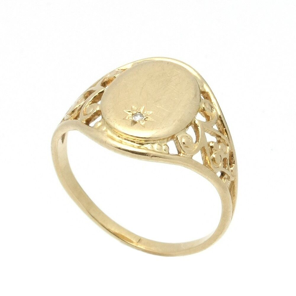 solid 14k gold child s signet ring with set
