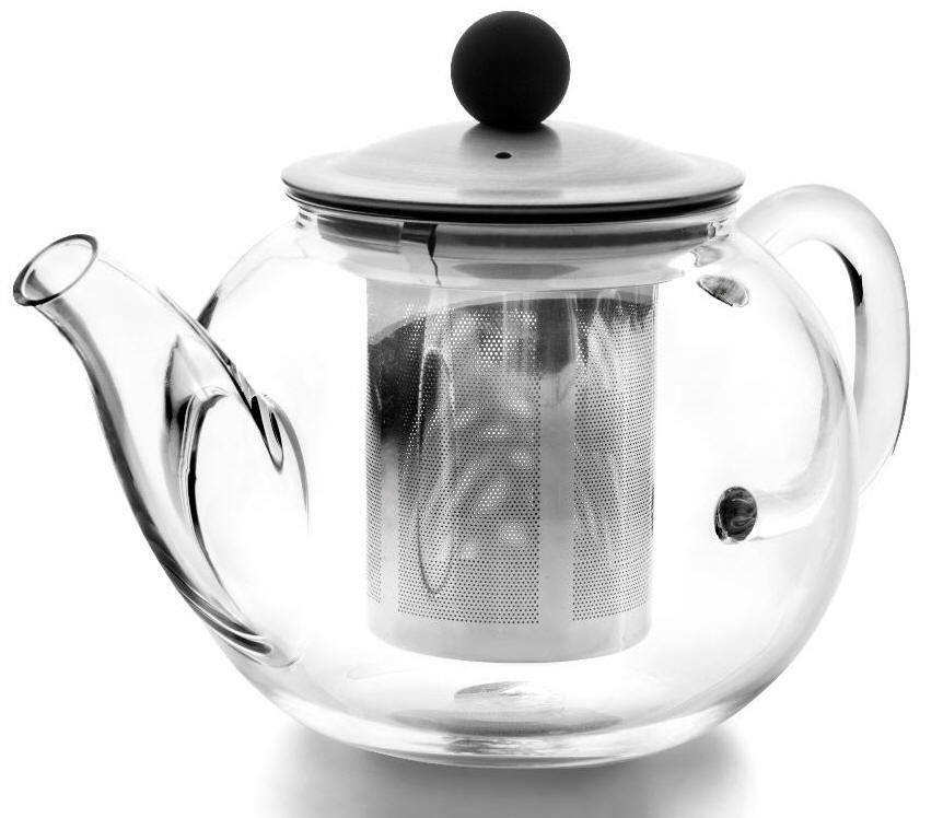 teekanne aus glas 600 ml tetera de cristal agua glass teapot with filter theiere ebay. Black Bedroom Furniture Sets. Home Design Ideas