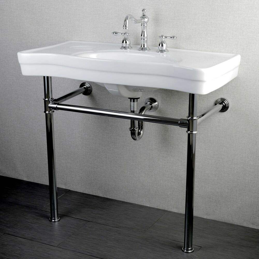 Pedestal Sink Wall Bracket : ... Vintage 36-inch Wall-mount Chrome Pedestal Bathroom Sink Vanity eBay
