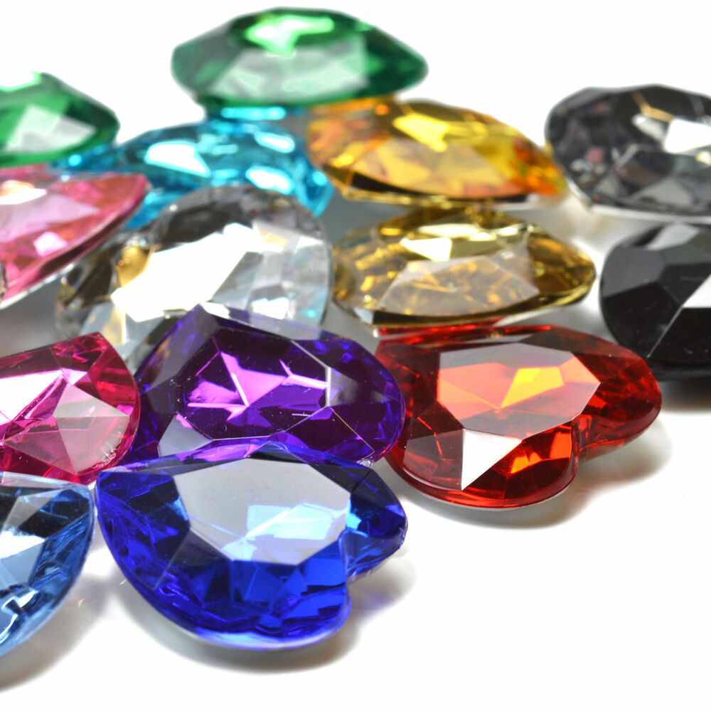 27mm large faceted acrylic heart crystal rhinestone for Plastic gems for crafts