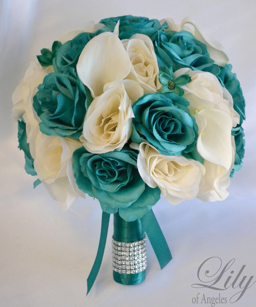 17 piece package silk flower wedding bridal bouquets bride teal emerald ivory ebay - Flowers good luck bridal bouquet ...