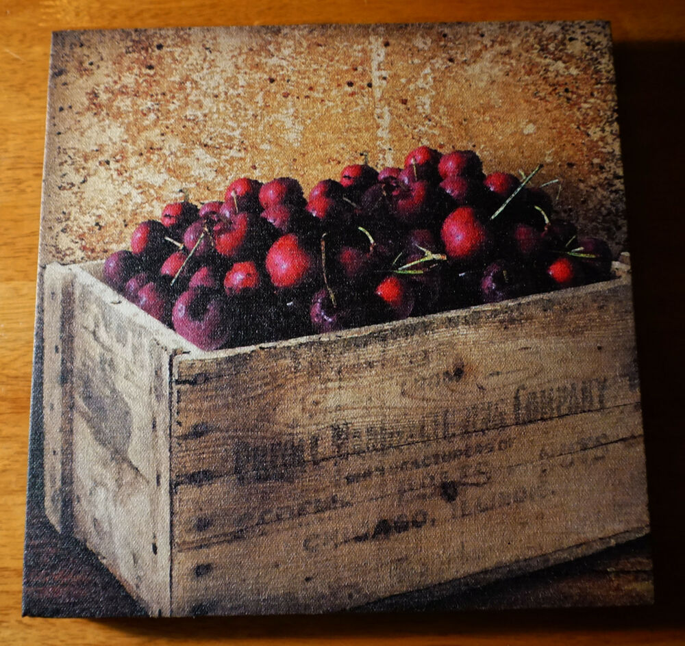 CHERRIES Country Farm Crate Painted Print Sign Kitchen