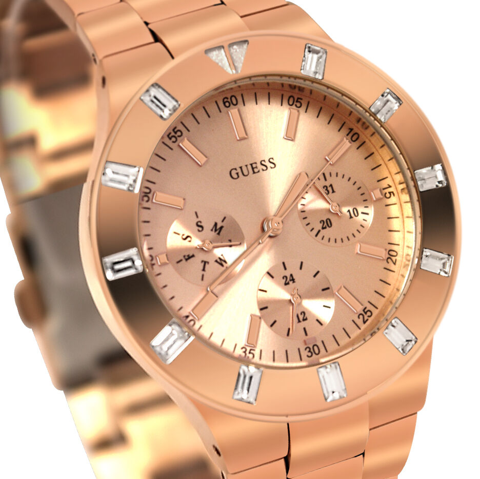 Latest guess women 39 s u13013l1 feminine hi shine rose gold tone mid size watch ebay for Watches guess