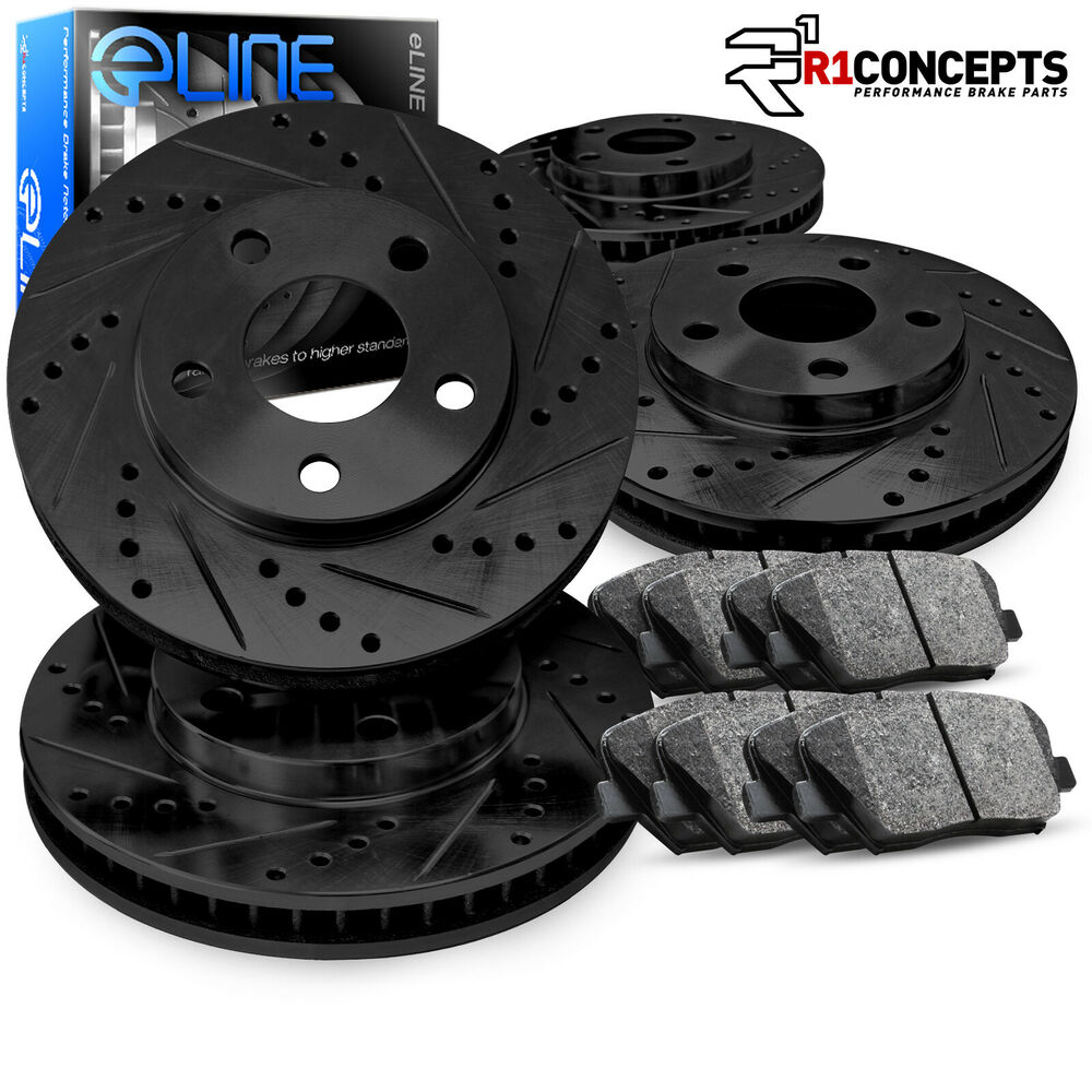 Front And Rear Black Drilled Slotted Brake Rotors