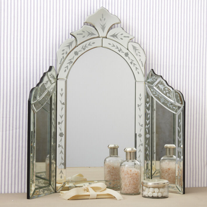 New Venetian Style Etched Glass Trifold Vanity Table Top