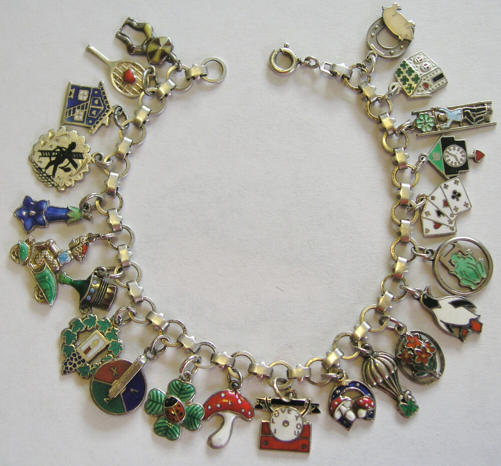 Antique Gold Charm Bracelet: RARE VINTAGE ANTIQUE GERMAN SILVER ENAMEL LUCKY CHARM