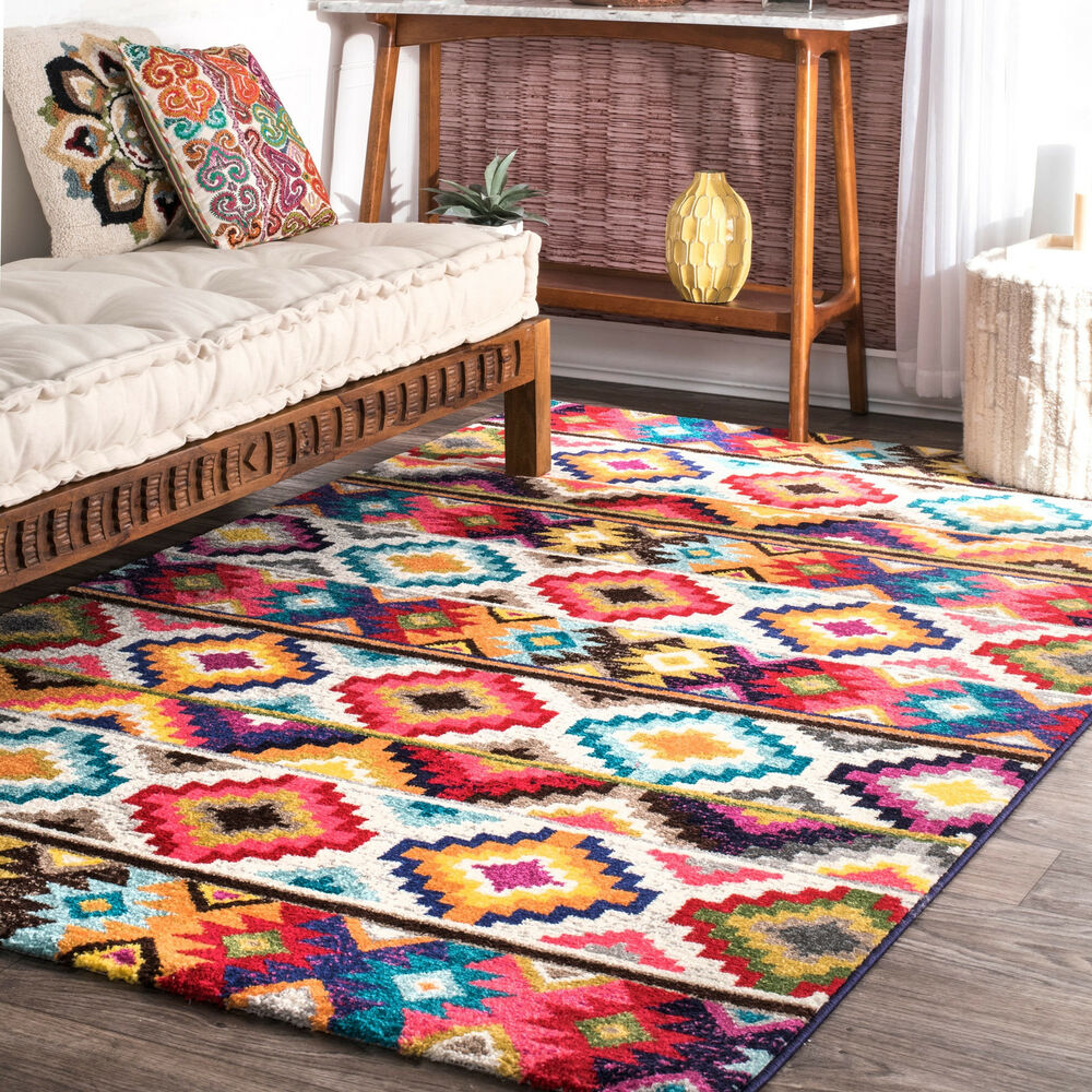 Nuloom Retro Tribal Diamonds Multi Kids Rug 8 X 10 Ebay