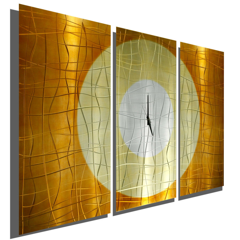Large copper 3 panel wall clock modern contemporary for Contemporary wall art