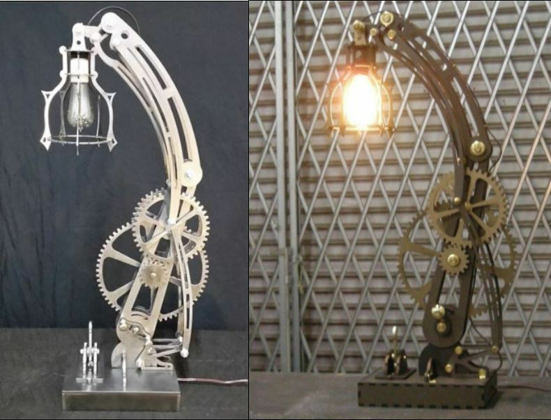Steampunk Steel Lamp And Wood Lamp Patterns Dxf Format Cnc