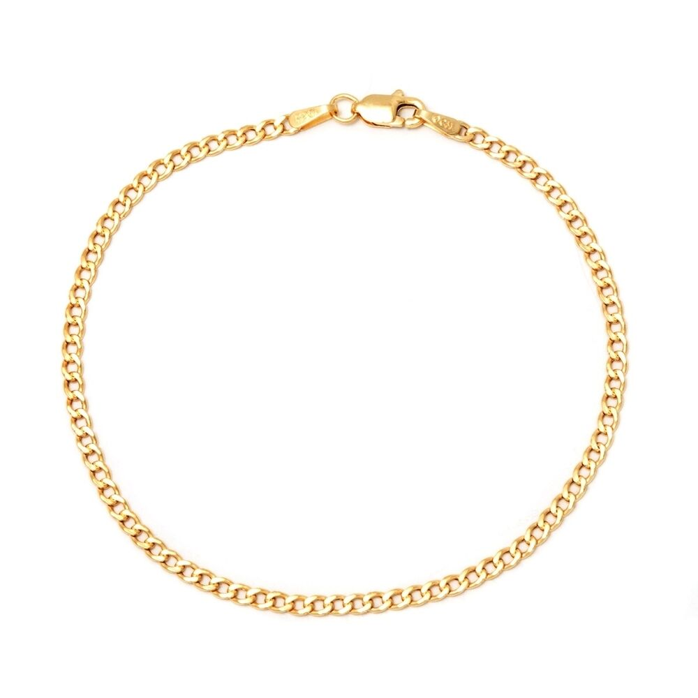 Gold Jewelry Bracelets: Pori 10k Yellow Gold Cuban Chain Bracelet