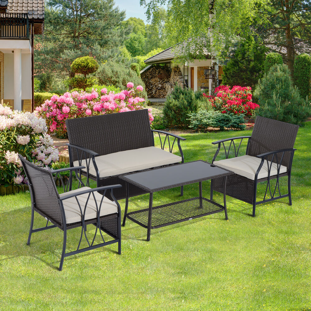 Outsunny 4pc Patio Furniture Set Outdoor Rattan Wicker ...