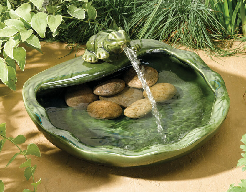 Frog Bowl Water Feature Fountain Solar Powered Basin Pond Design Ceramic  Garden