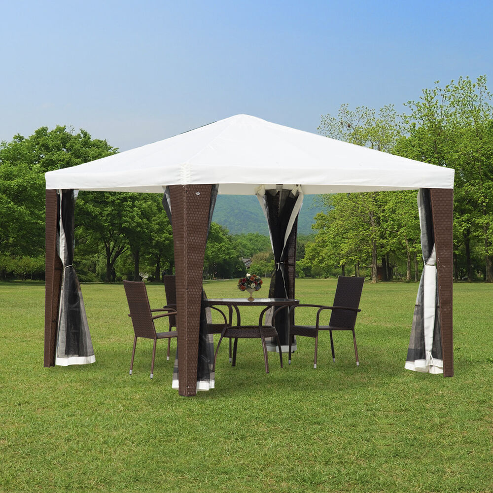 outsunny 10 39 x 10 39 gazebo canopy rattan wicker party tent w mesh walls white ebay. Black Bedroom Furniture Sets. Home Design Ideas
