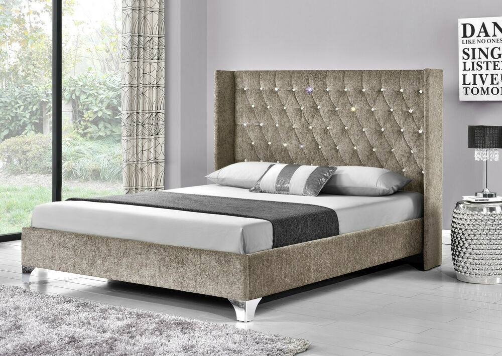 Wing Back Bed Frame Upholstered Fabric Velvet Chenille