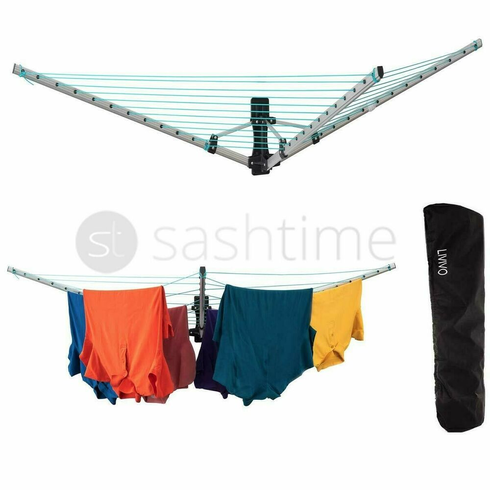 5 Arm 26m Folding Wall Mounted Clothes Airer Dryer Washing