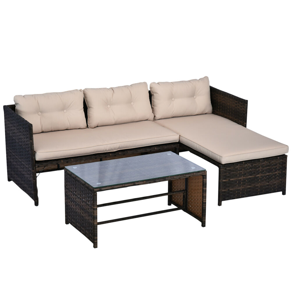 3pc outdoor patio sofa set pe rattan wicker deck couch garden furniture brown ebay. Black Bedroom Furniture Sets. Home Design Ideas