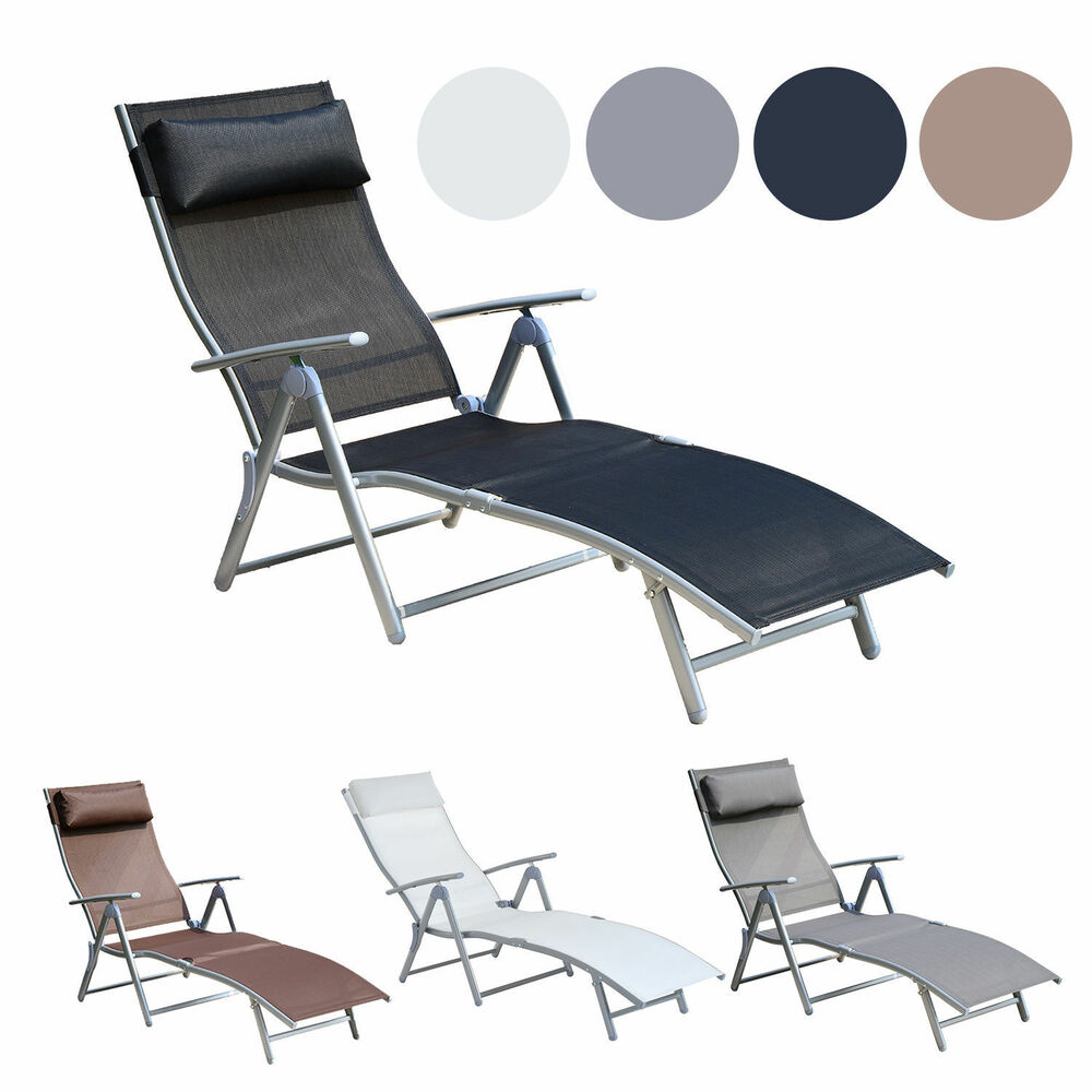 Chaise lounge chair folding pool beach yard adjustable for Reclining patio chair