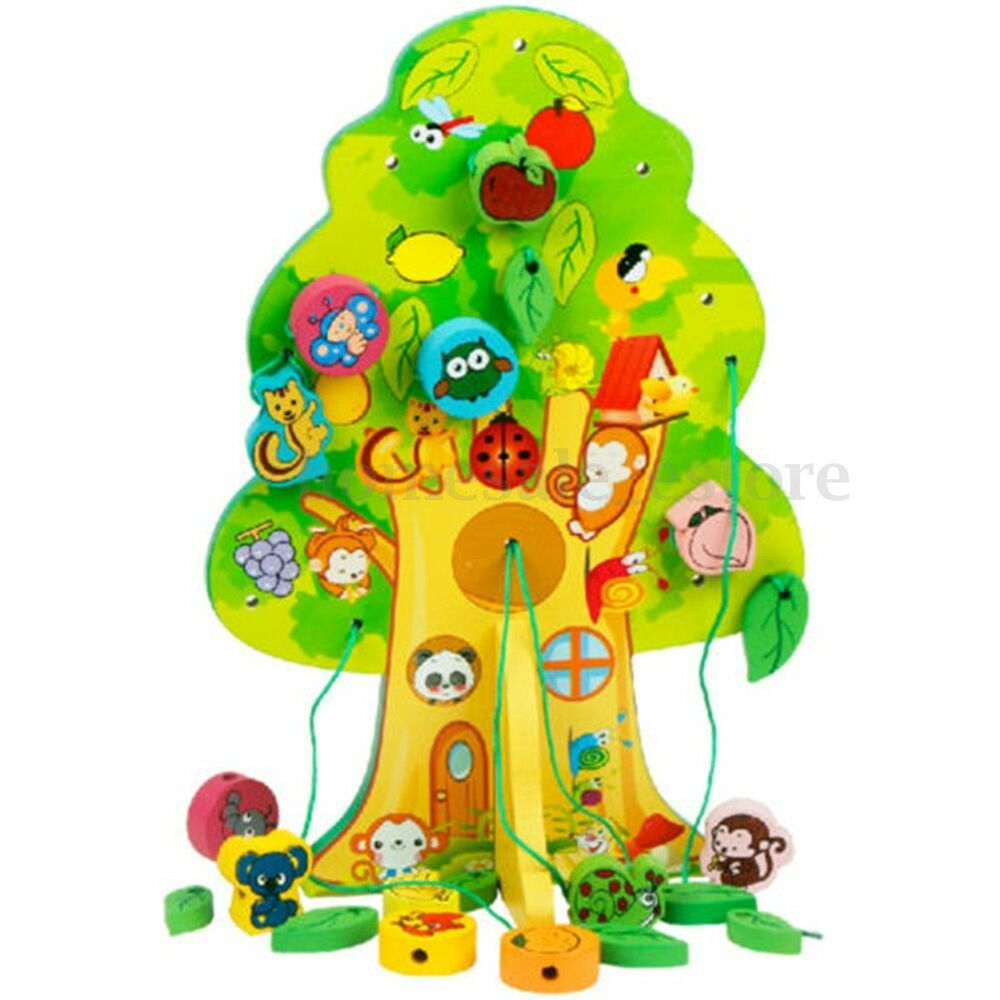 Kids Educational Wooden Toy Animal Lacing Fruit Tree Child