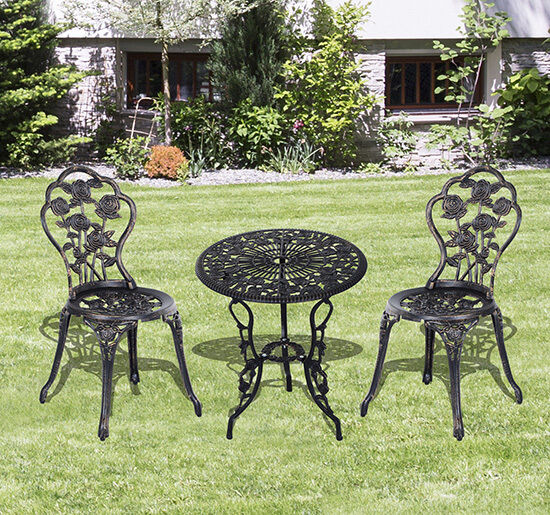 3pc cast aluminum patio bistro furniture set garden chairs